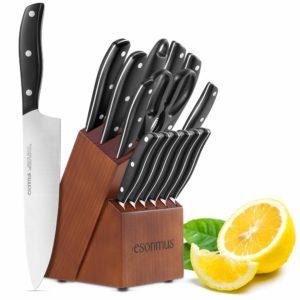 Blade Set, 15-Piece Kitchen Knife Set with Block Wooden