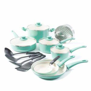 GreenLife Soft Grip 16pc Ceramic Non-Stick Cookware Set